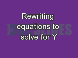 Rewriting equations to solve for Y