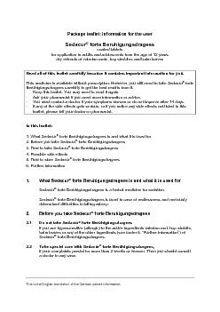 This is the English version of the German package leaflet. Package lea