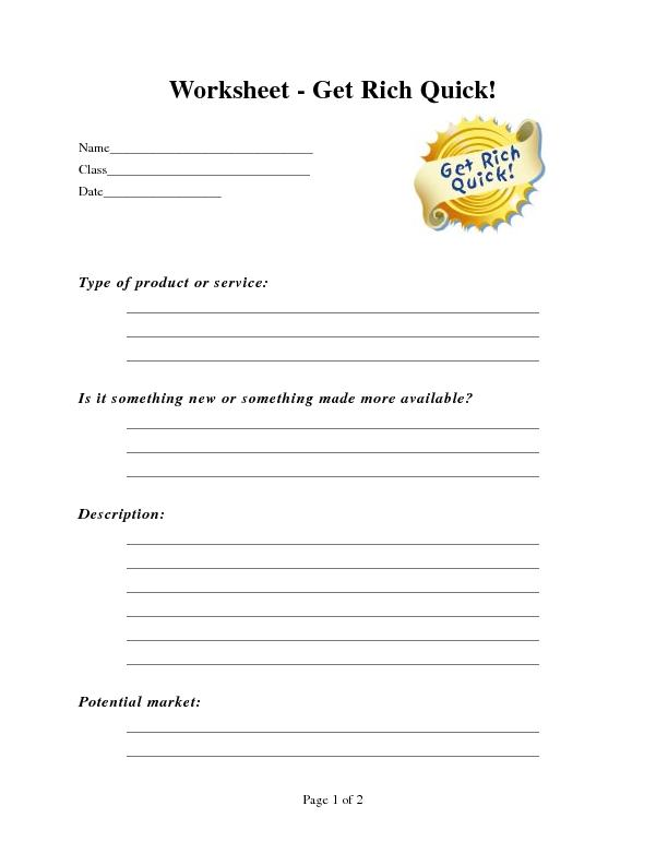 Worksheet - Get Rich Quick!Type of product or service: