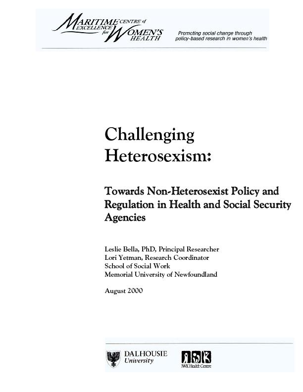 Heterosexism in Income Support Policies in Newfoundland and Labrador