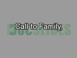 Call to Family,