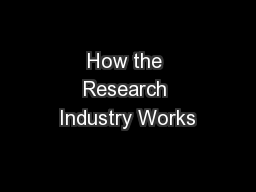 How the Research Industry Works