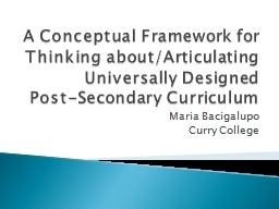 A Conceptual Framework for Thinking about/Articulating Univ