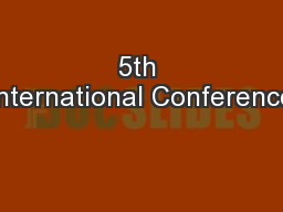 5th International Conference