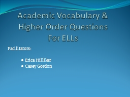 Academic Vocabulary & Higher Order Questions