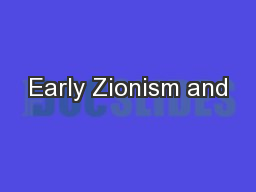 Early Zionism and