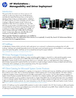 HP Workstations –Manageability and Driver Deployment