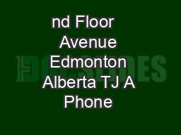 nd Floor   Avenue Edmonton Alberta TJ A Phone