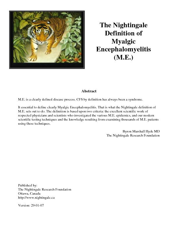 at the Nightingale definition of M.E. sets out to do. The definition i