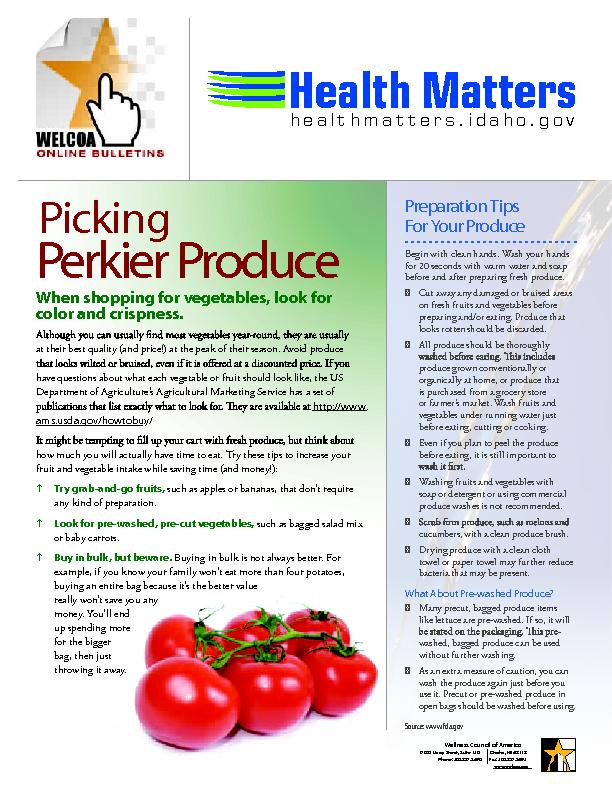 PickingPerkier ProduceWhen hopping or eeables, ook or color nd rispnes