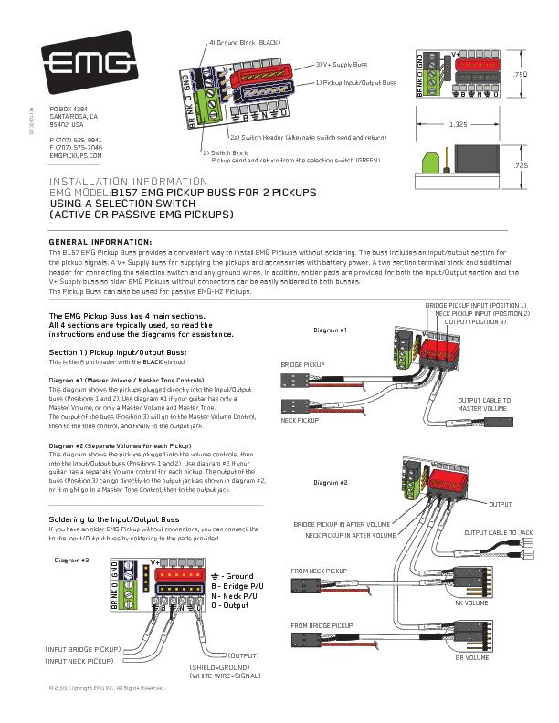 General INFORMATION:the pickup signals. A V+ Supply buss for supplying