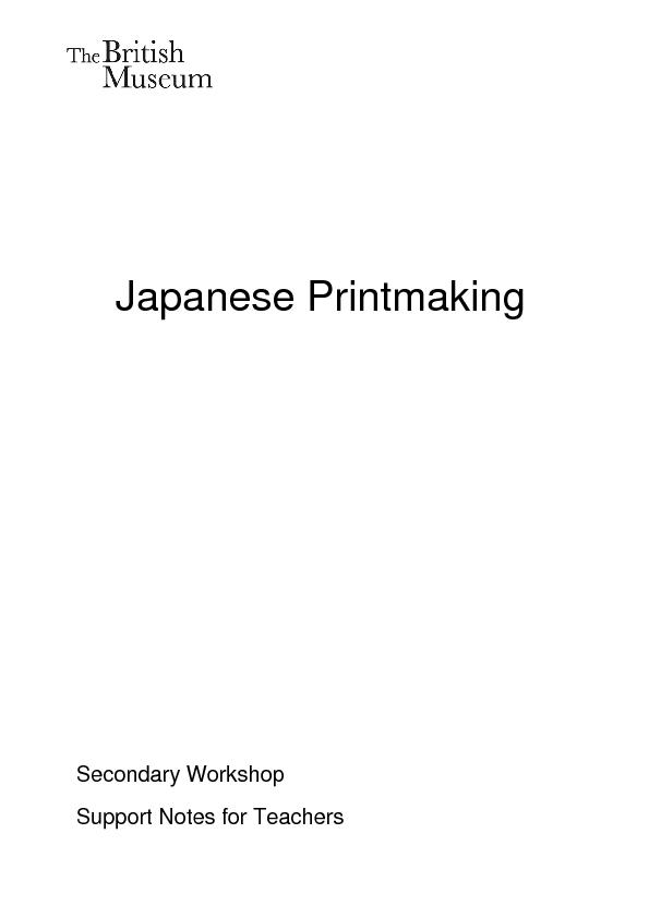Japanese PrintmakingSecondary Workshop Support Notes for Teachers ...