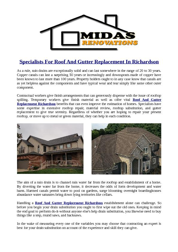 Specialists For Roof And Gutter Replacement In Richardson