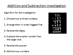 Addition and Subtraction Investigation