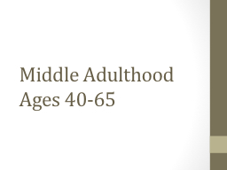 Middle Adulthood Ages 40-65 PowerPoint PPT Presentation