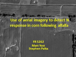 Use of aerial imagery to detect N response in corn follo PowerPoint PPT Presentation