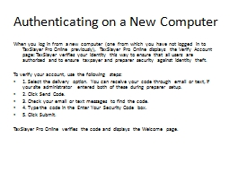 Authenticating on a New Computer