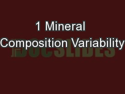 1 Mineral Composition Variability PowerPoint PPT Presentation