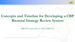 Concepts and Timeline for Developing a CBP Biennial Strateg