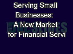Serving Small Businesses:  A New Market for Financial Servi