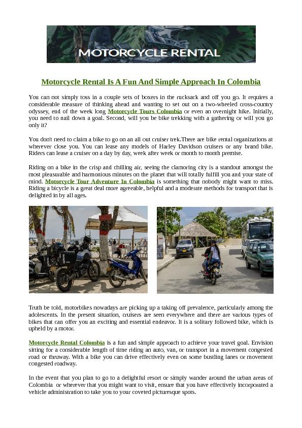 Motorcycle Rental Is A Fun And Simple Approach In Colombia