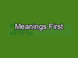 Meanings First PowerPoint PPT Presentation
