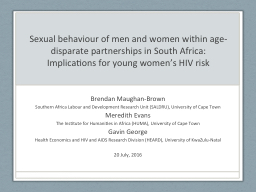 Sexual behaviour of men and women within age-disparate part
