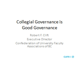 Collegial Governance is
