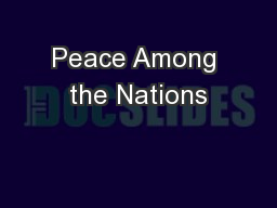 Peace Among the Nations