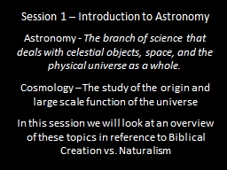Session 1 – Introduction to Astronomy PowerPoint PPT Presentation
