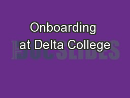 Onboarding at Delta College