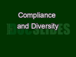 Compliance and Diversity
