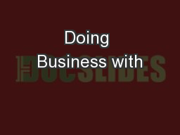 Doing Business with