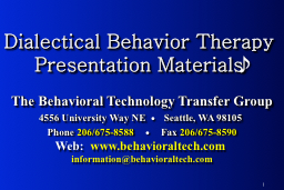 Dialectical Behavior Therapy Presentation Materials