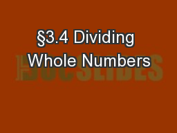 §3.4 Dividing Whole Numbers