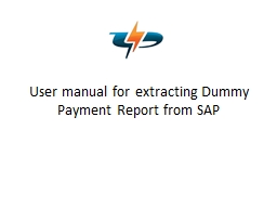 User manual for extracting Dummy Payment Report from SAP