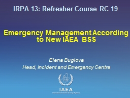 Emergency Management According to New IAEA BSS