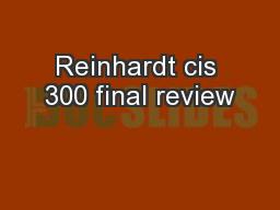 Reinhardt cis 300 final review