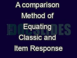 A comparison Method of Equating Classic and Item Response