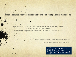 What people want: expectations of complaint handling