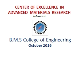 CENTER OF EXCELLENCE IN ADVANCED MATERIALS PowerPoint PPT Presentation