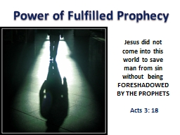 Power of Fulfilled Prophecy PowerPoint PPT Presentation