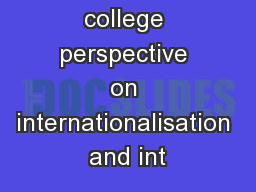 A cross college perspective on internationalisation and int