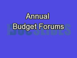 Annual Budget Forums