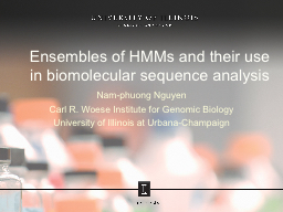 Ensembles of HMMs and their use in PowerPoint PPT Presentation