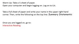 Warm-Up: Take a ¼ sheet of paper.
