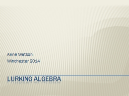 lurking algebra PowerPoint PPT Presentation
