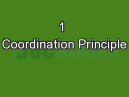 1 Coordination Principle