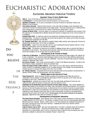 Eucharistic Adoration Do you believe in the real prese