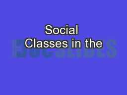 Social Classes in the